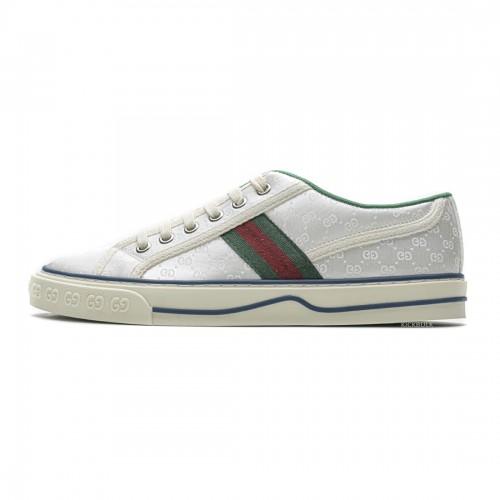 Gucci white silk sneakers 553385 DOPEO 1977