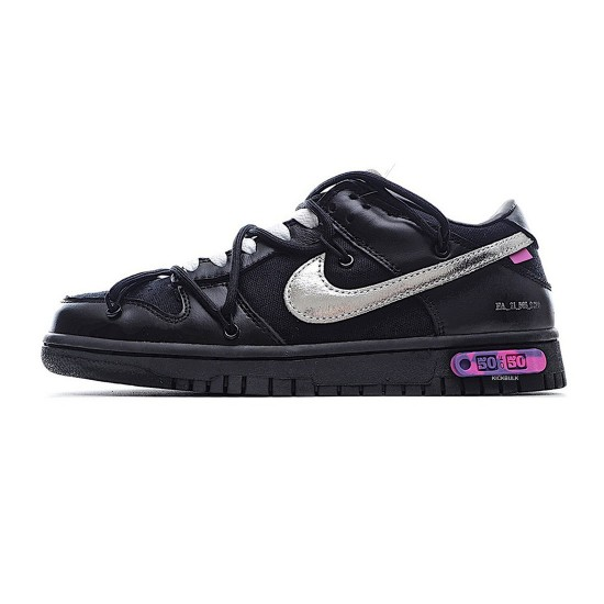 Off-White x Nike Dunk Low 'LOT 50 of 50' Black/Silver DM1602-001